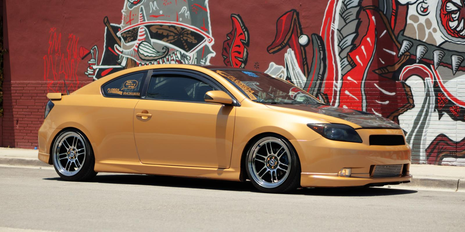 Gold vinyl wrap,Enkei RPF1s, F2 coilovers