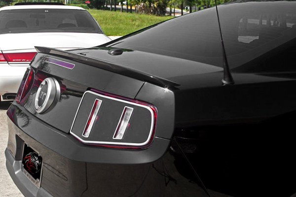 Ford Mustang V8 2010-2013, Blackout Tail Light Covers With Polished Trim Rings by ACC. - 16166962