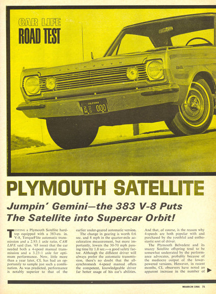 66Mope 1966 Plymouth Satellite Specs, Photos, Modification