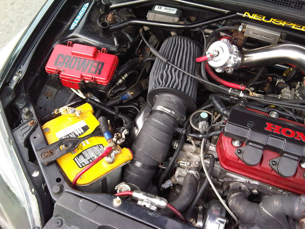 Custom Vibrant Intake With AEM Dryflow Filter Filter And Optima Yellow Top  Battery