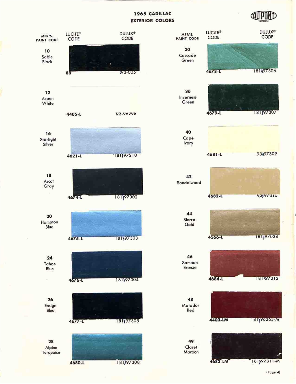 Official cadillac color names and paint codes page 4 re official cadillac color names and paint codes nvjuhfo Images