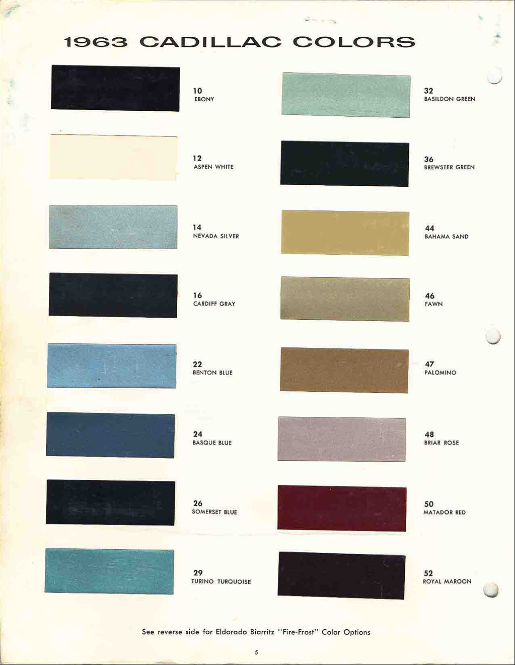 Cadillac Paint Color Chart