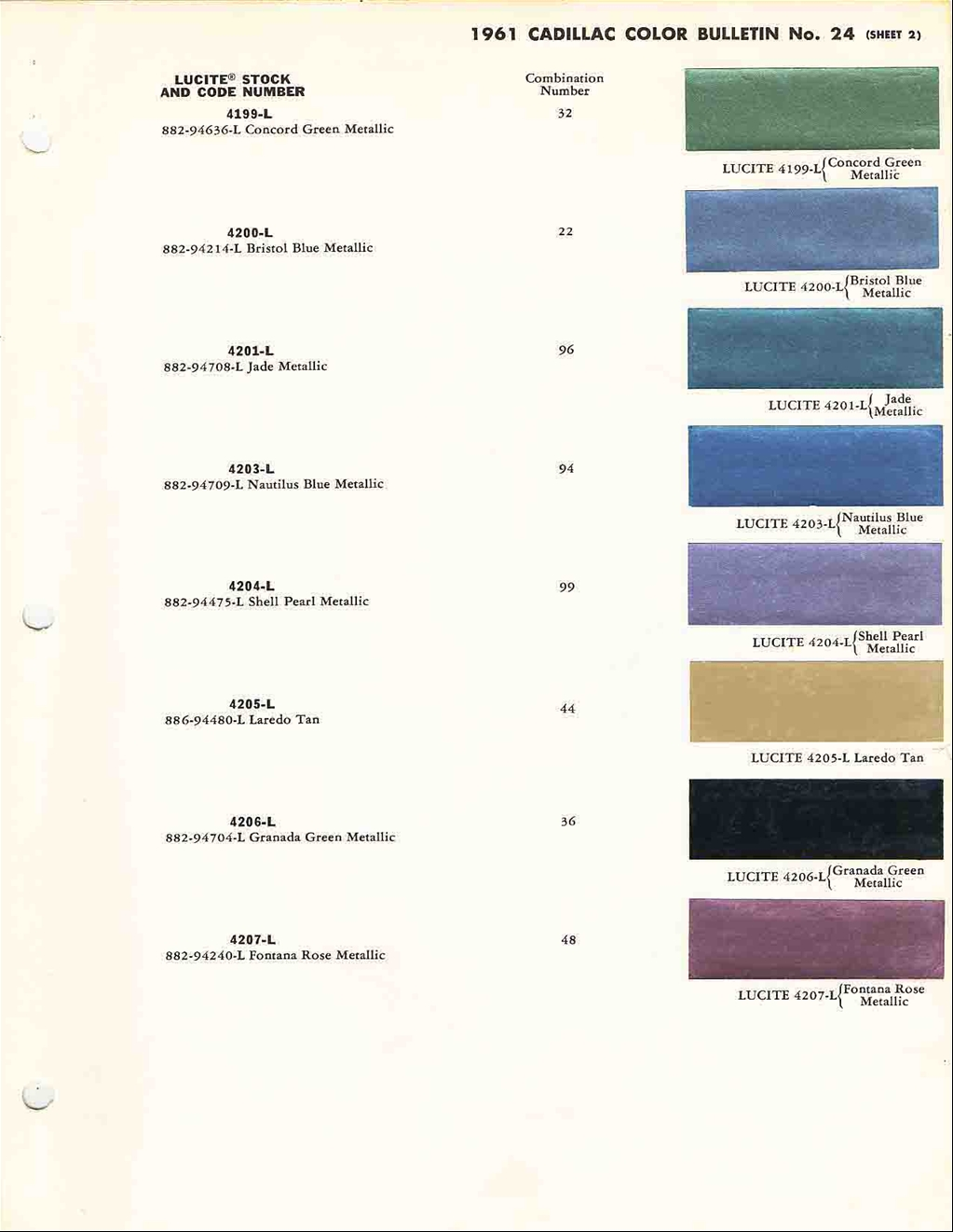 Official Cadillac Color Names And Paint Codes Page 4 1964 Dodge Chips 1962 1963