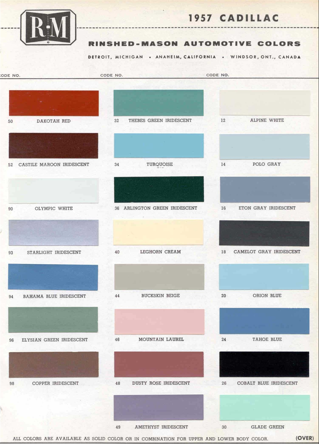 Official cadillac color names and paint codes archive cadillac official cadillac color names and paint codes archive cadillac forums cadillac owners forum nvjuhfo Images