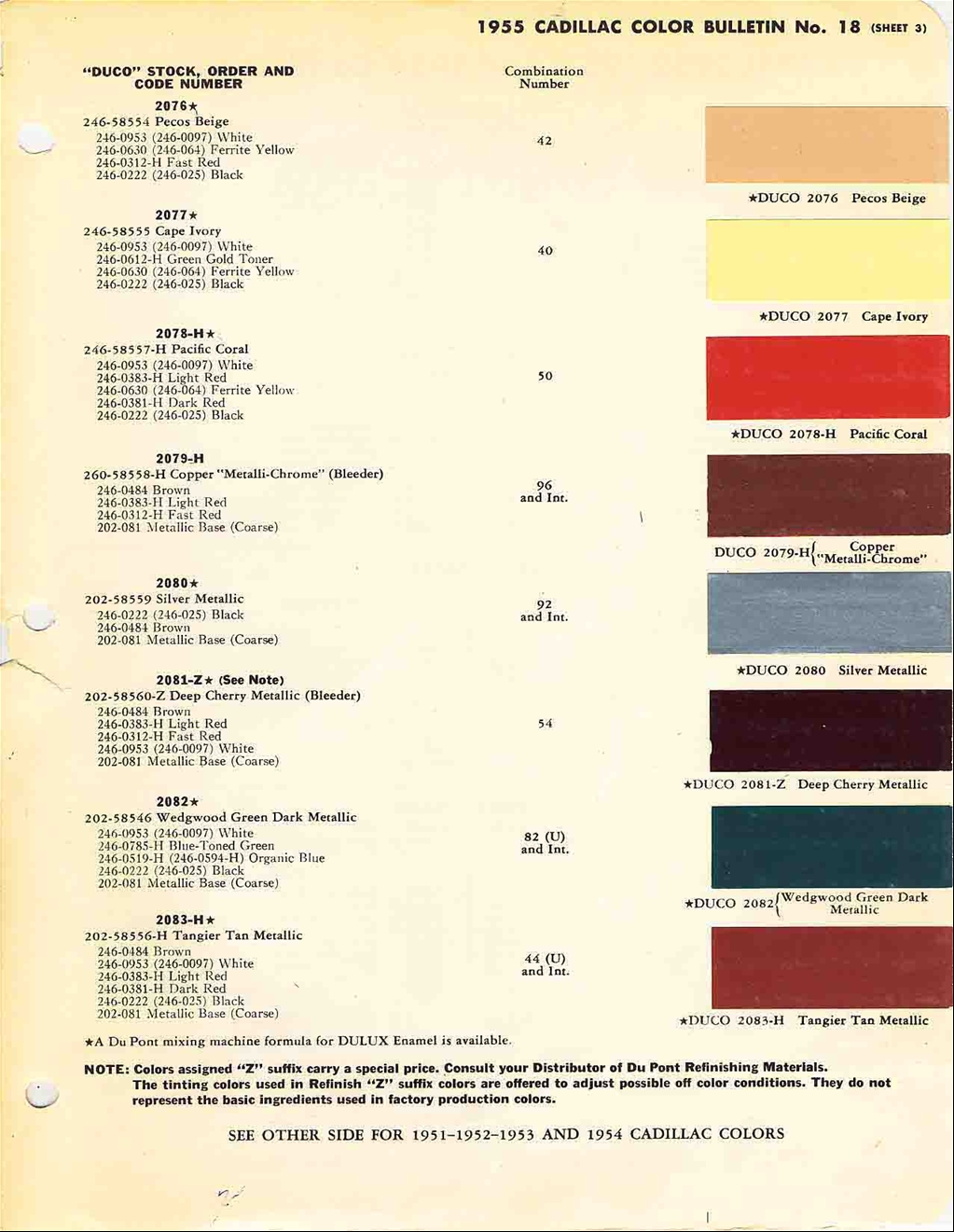 Official Cadillac Color Names And Paint Codes Archive
