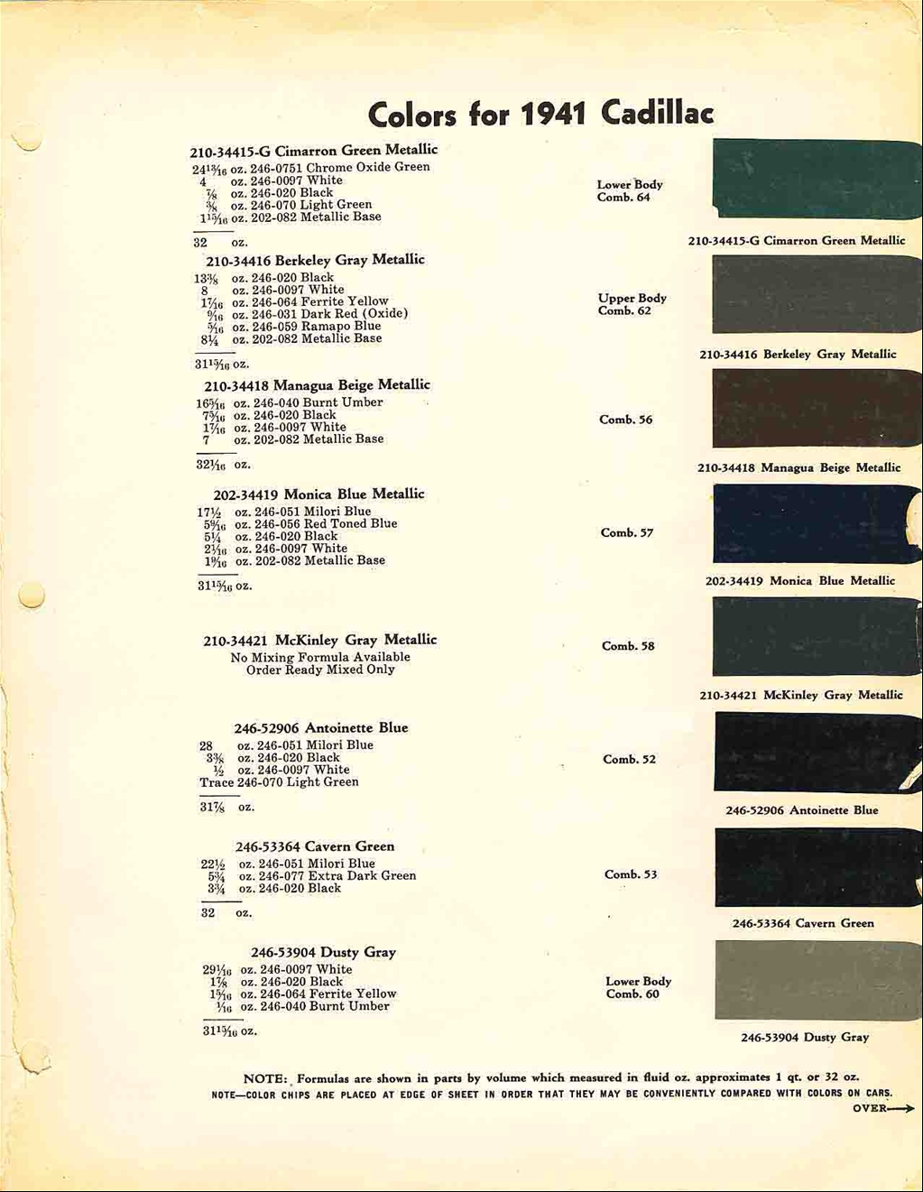 Official Cadillac Color Names And Paint Codes Page 4 1964 Dodge Chips Re