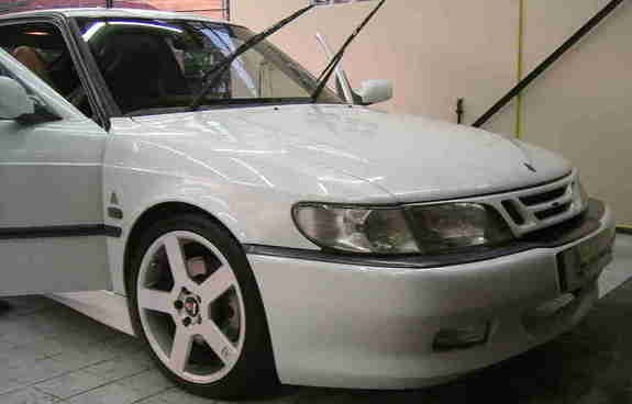 "Here's Teej's white 1994 SAAB 900 with the 17"" Pegasus wheels and Viggen kit"