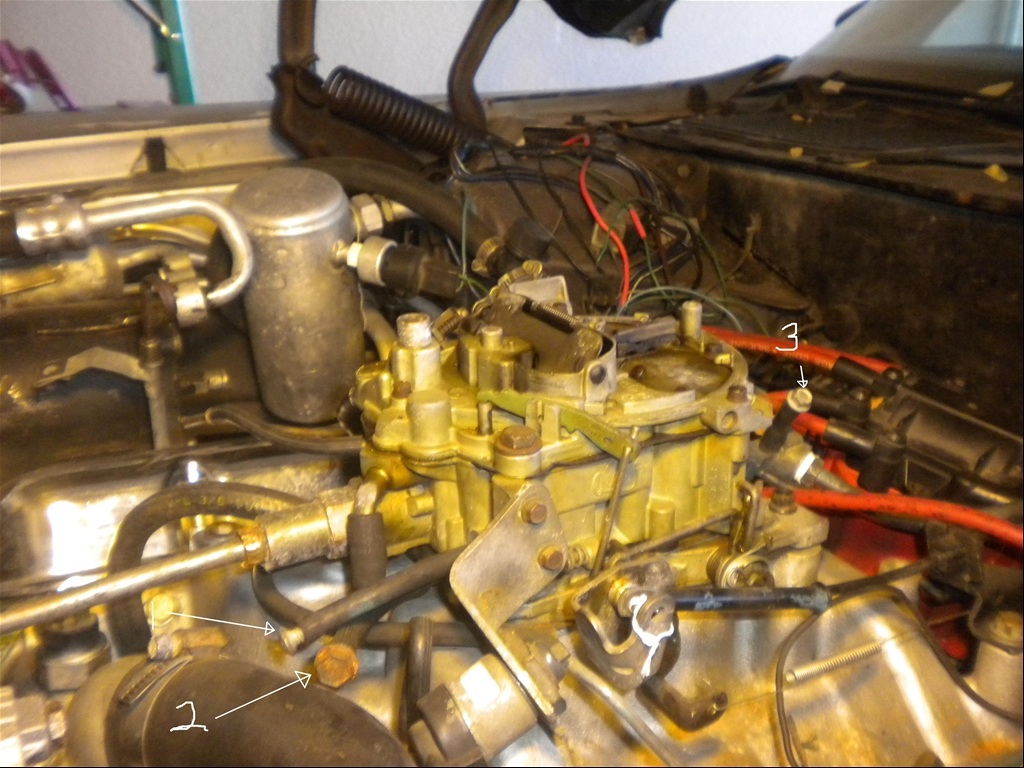 This car has a Pontiac 400 with a Turbo 400. The car came from the factory  with an Olds 403. Can anyone help identify where these hoses are supposed  to lead ...