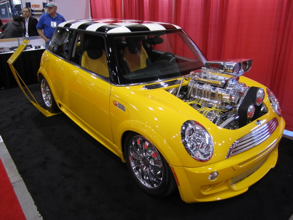 mini cooper with 6 4l supercharged hemi v8. Black Bedroom Furniture Sets. Home Design Ideas